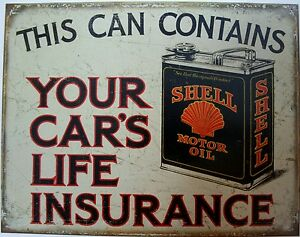 Vintage Replica Tin Metal Sign Shell Motor Oil Gas Station Drum Car Life 2088