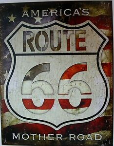 Vintage Replica Tin Metal Sign Route 66 Street Cafe America Rt Mother Road 2104