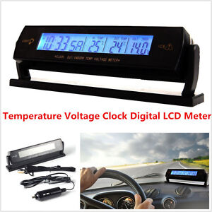 Car Auto Lcd Digital Clock Thermometer Temperature Voltage Meter Weather Monitor