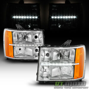 2007 2013 Gmc Sierra 1500 2500hd 3500hd Led Drl Headlights Headlamps Left Right