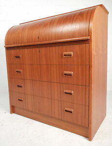 Mid Century Danish Teak Roll Top Desk In The Style Of Egon Ostergaard 1966 Nj