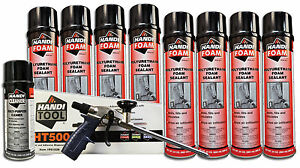 Handi Foam Sealant Gun Foam Combo Pack ht500 Cleaner 8 24oz Cans Sealant
