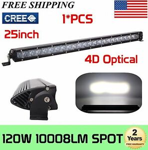 120w 25inch 4d Optical Cree Led Off Road Light Bar Spot Beam Ute Jeep Single Row