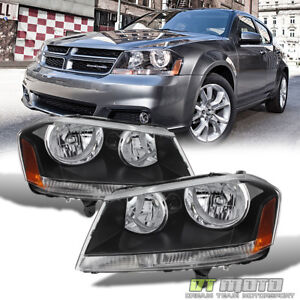 Black 2008 2014 Dodge Avenger Headlights Headlamps Replacement 08 14 Left Right