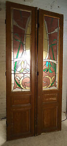 Large Pair Of Vintage French Stained Glass Doors 1863 Ns