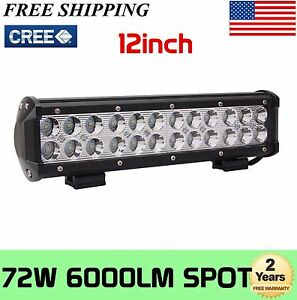 12inch 72w Cree Led Work Light Bar Spot Flood Suv Boat Driving Lamp Offroad 4wd