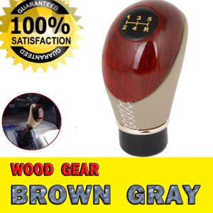 Universal 5 Speed Wood Shift Knob Manual Gear Stick Shifter Gray Brown For Car