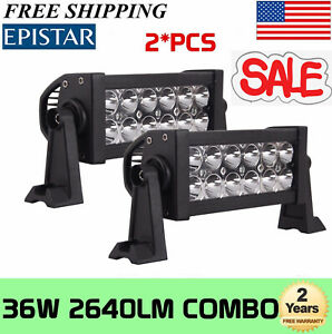 2x 8inch 36w Led Work Light Bar Spot Flood Offroad Suv Car Boat Driving Lamp 4wd