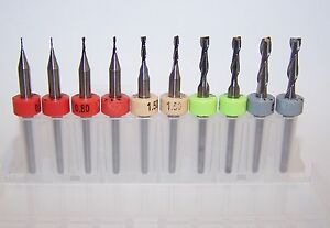 Micro Machining Kit 10 New Carbide Endmills Metric