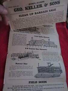 1920 s 30 s Geo Keller Sons Quincy Illinois Farm Equipment Bargain Sale Flyer