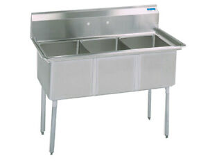Bk Resources Bks 3 18 12 3 Compartment Stainless Sink 18 X 18 X 12 Deep Bowls
