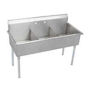 Elkay Foodservice 3 Compartment Utility Sink 24 X 24 X 12 Bowls 18 300 S s
