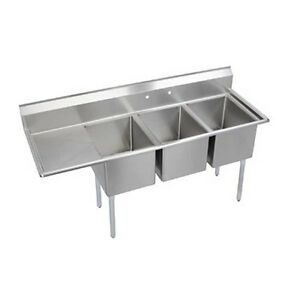 Elkay Foodservice 3 Compartment Sink 24 x24 x12 Bowls 24 Drainboard 18 300