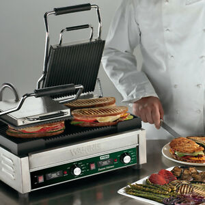 Waring Wpg300t Dual Sandwich Ribbed Panini Grill 17 X 9 25 W Timer 240v