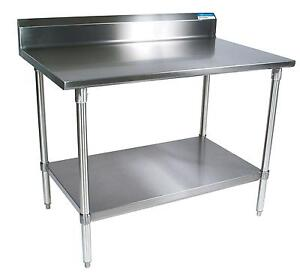 Bk Resources 24 x 24 Work Table 18g Stainless Steel Top W Turndown Edge