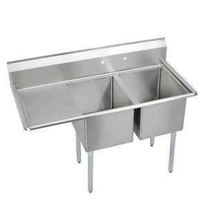 Elkay Foodservice 2 Compartment Sink 16 x20 x12 Bowl 18 Drainboard 18 300 Ss