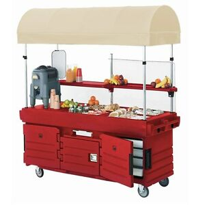Cambro Kvc854c158 4 Pan Well Camkiosk Vending Merchandising Cart Hot Red