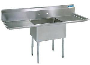 Bk Resources Stainless 1 Compartment Sink W 18x24x14 d Bowl 2 Dboards