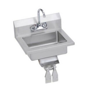 Elkay Foodservice 18 Economy Hand Sink Wall Mount W Faucet Knee Valve