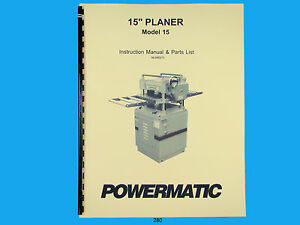 Powermatic Model 15 Planer Instruction Parts Manual 280