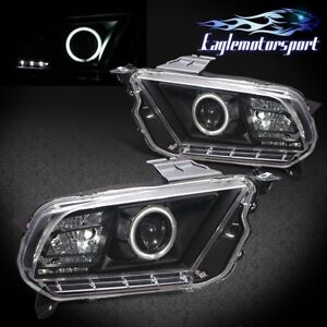 ccfl Halo 2010 2014 Ford Mustang Angel Eye Black Projector Headlights Pair