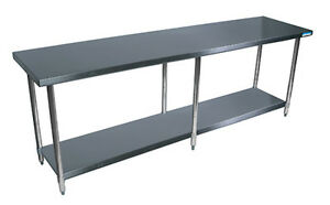 Bk Resources 96 x 18 Work Table 18g Stainless Steel Top W turndown Edges