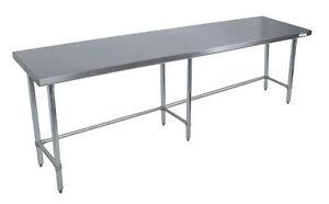 Bk Resources Svtob 9630 96 x 30 Work Table 18g Stainless Steel Top W Open Base