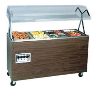 Vollrath T3893546 3 Well Mobile Hot Food Steam Table Walnut W Lights