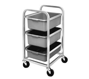 Channel Manufacturing Mobile Aluminum Bus Utility Cart W Three 5in Deep Tubs