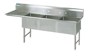 Bk Resources 3 24 x24 x14 Compartment Sink W 24 Left Drainboard