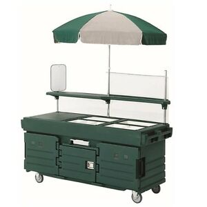Cambro Kvc854519 4 Well Vending Merchandising Cart W Umbrella Kentucky Green