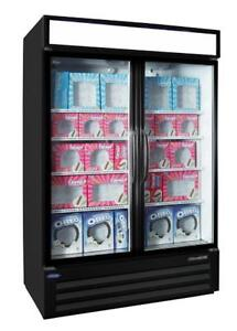 Nor lake 45 7 Cu Ft Freezer Merchandiser Black 2 Glass Swing Doors