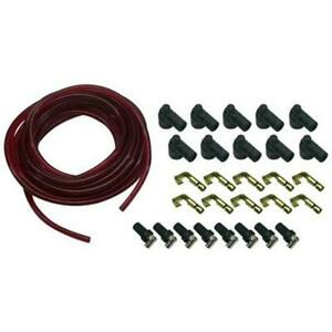 Red 7mm Solid Core Spark Plug Wires Kit With 90 Degree Rajah Ends