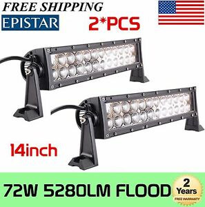 2x 72w 14inch Led Work Light Bar Flood Beam Driving Suv Boat Offroad Jeep Alloy