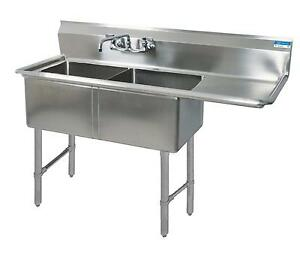 Bk Resources Two 24 x24 x14 Compartment Sink S s Legs Drainboard Right