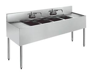 Krowne Metal 4 Compartment Underbar Sink 21 d W Two 24 Drainboards S s