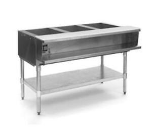 Eagle Group Awtp3 3 well Gas Steam Table W Galvanized Shelf Safe Pilot