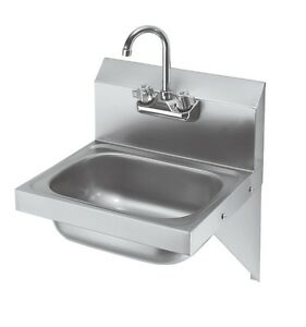 Krowne Metal Hs 10 16 Wide Hand Sink W Side Supports 3 5 Gooseneck Faucet