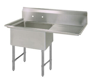Bk Resources One 18 x24 x14 Compartment Sink S s Leg Right Drainboard