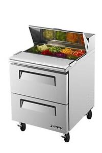 Turbo Air 7 Cu ft Sandwich Prep Cooler With Two Drawers 8 Pans Tst 28sd d2