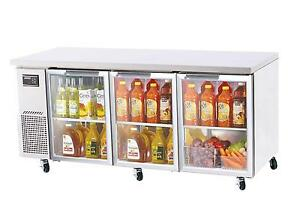 Turbo Air 72 Side Mount Undercounter Refrigerator 3 Swing Glass Doors Jur 72 g
