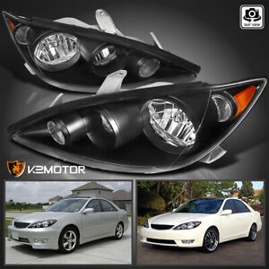 For 2005 2006 Toyota Camry Black Replacement Headlights Head Lamps Left Right