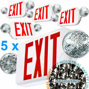 5x Led Exit Sign Emergency Light High Output Red Compact Combo Set Ul924