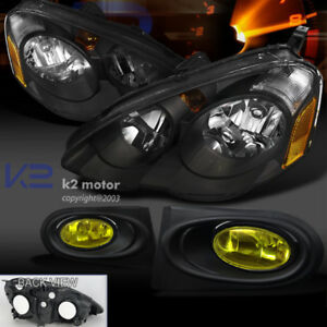 02 04 Acura Rsx Dc5 Jdm Black Headlights amber Fog Bumper Light