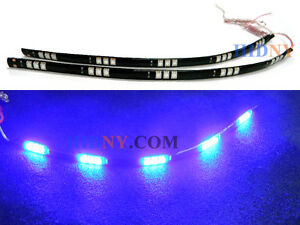 2x 12 Flexible Led Strip For Day Time Running Light Drl Blue Led 15 Smd 12v