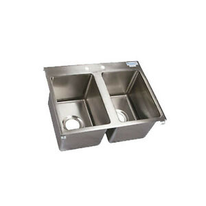 Bk Resources Bk dis 1014 2 Two Compartment 24 x18 Stainless Steel Drop in Sink