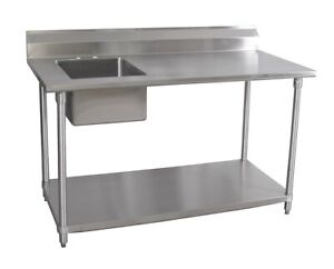 Bk Resources Bkpt 3072s l 72 wx30 d Stainless Steel Prep Table W Left Side Sink