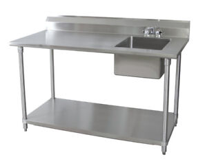 Bk Resources 60 wx30 d Stainless Steel Prep Table W Right Side Sink