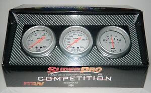 New Superpro Competition 2 5 8 3 Gauge Panel Set Oil Pressure Water Temp Amps