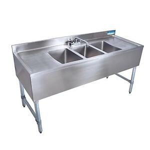 Bk Resources Bkubs 396ts 96 w Three Compartment Stainless Steel Underbar Sink